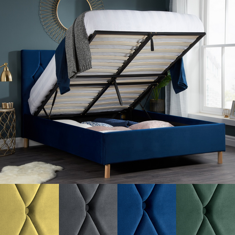 Ottoman & Non ottoman Fabric Beds 4 colours