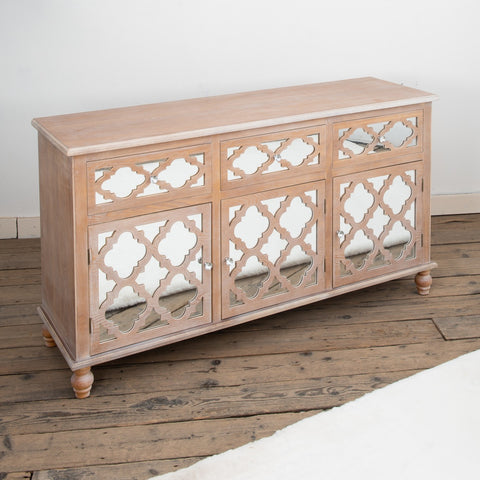 Wooden Lattice Mirrored sideboard