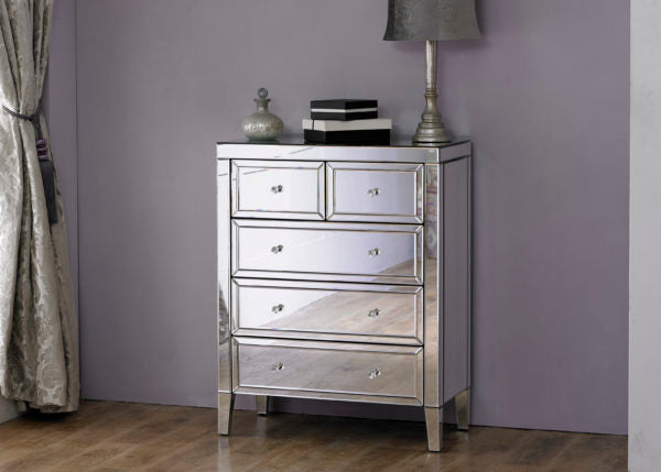 Valarie mirrored 5 drawer chest of drawers.