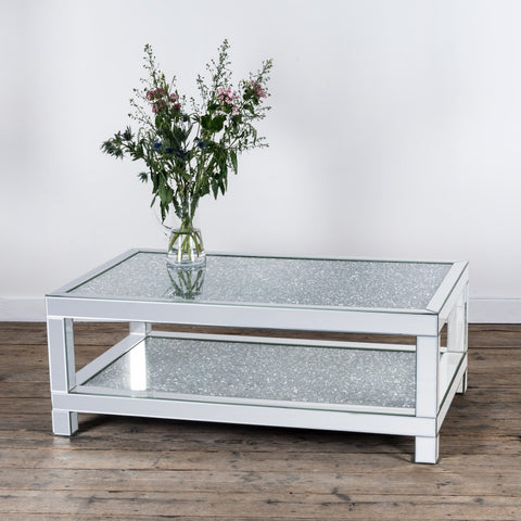 Sparkly Mirrored Glass Diamond Crush Crystal Coffee Table