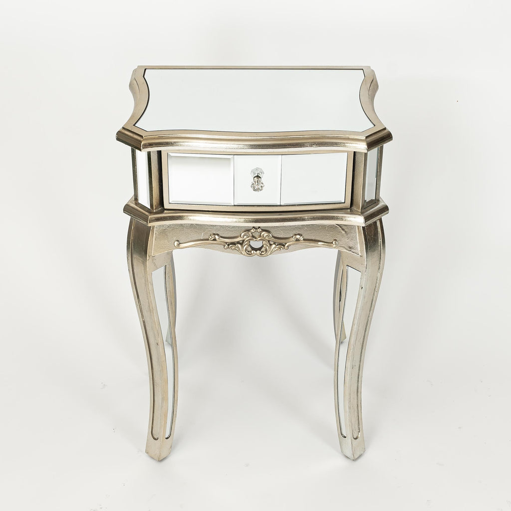 Argente Mirrored Bedside Table - Champagne Silver Gilt Leaf