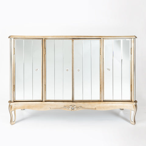 Argente Mirrored Sideboard with Four Cupboards