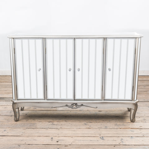 Argente Mirrored Four Door Sideboard - Antique Silver