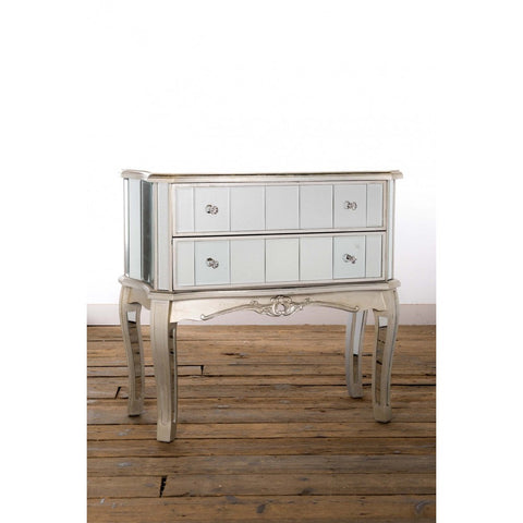 Annabelle French Silver Gilt Leaf Mirrored Two Drawer Chest of Drawers