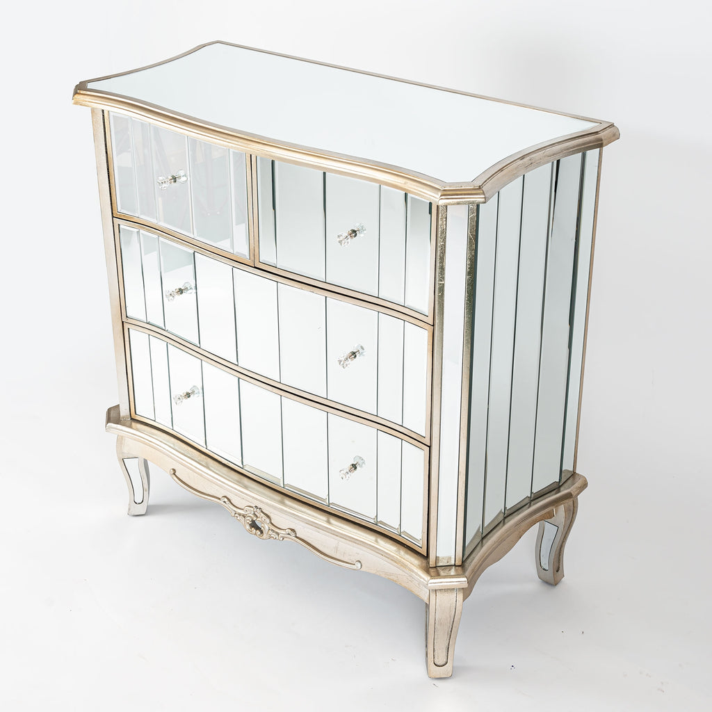 Argente Mirrored Chest of Drawers - Champagne Silver Gilt Leaf