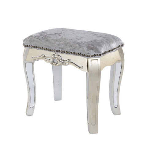 Argente Mirrored Dressing Table Stool Champagne Silver Gilt Leaf