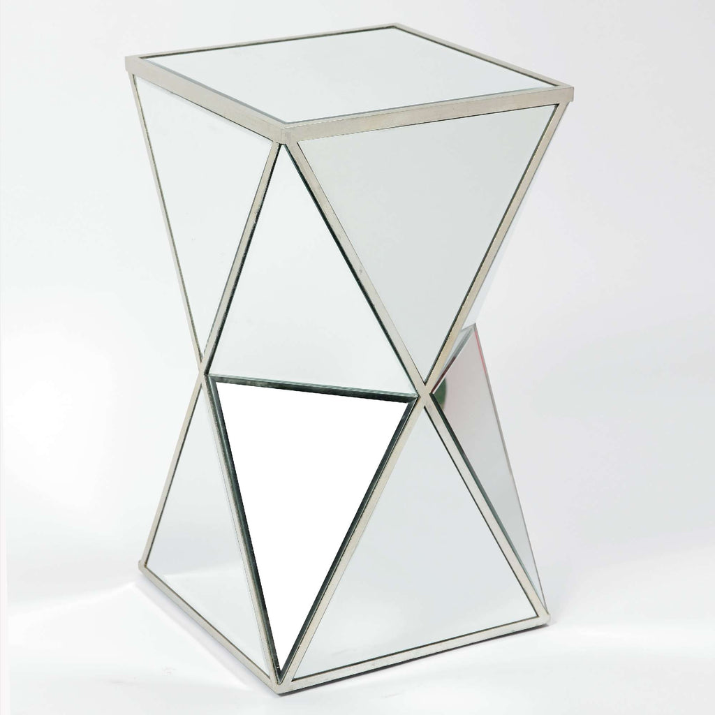 Vintage  Mirrored Occasional Side Table - Antique Silver