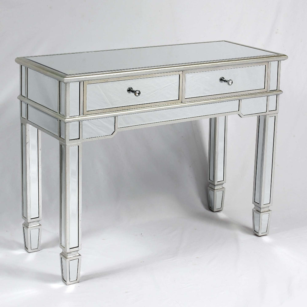 The Belfry Silver 2 Drawer Mirrored Console Table