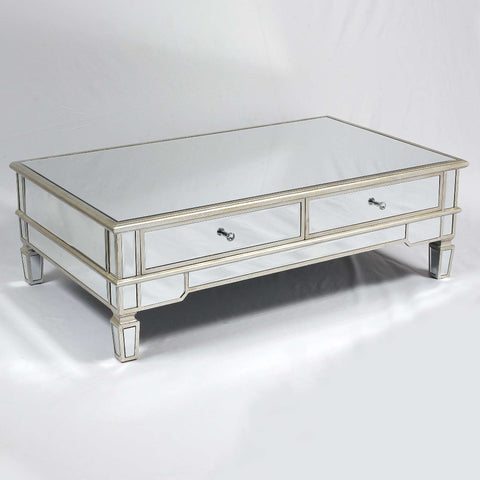 The Belfry Collection Mirrored Coffee Table Silver Gilt