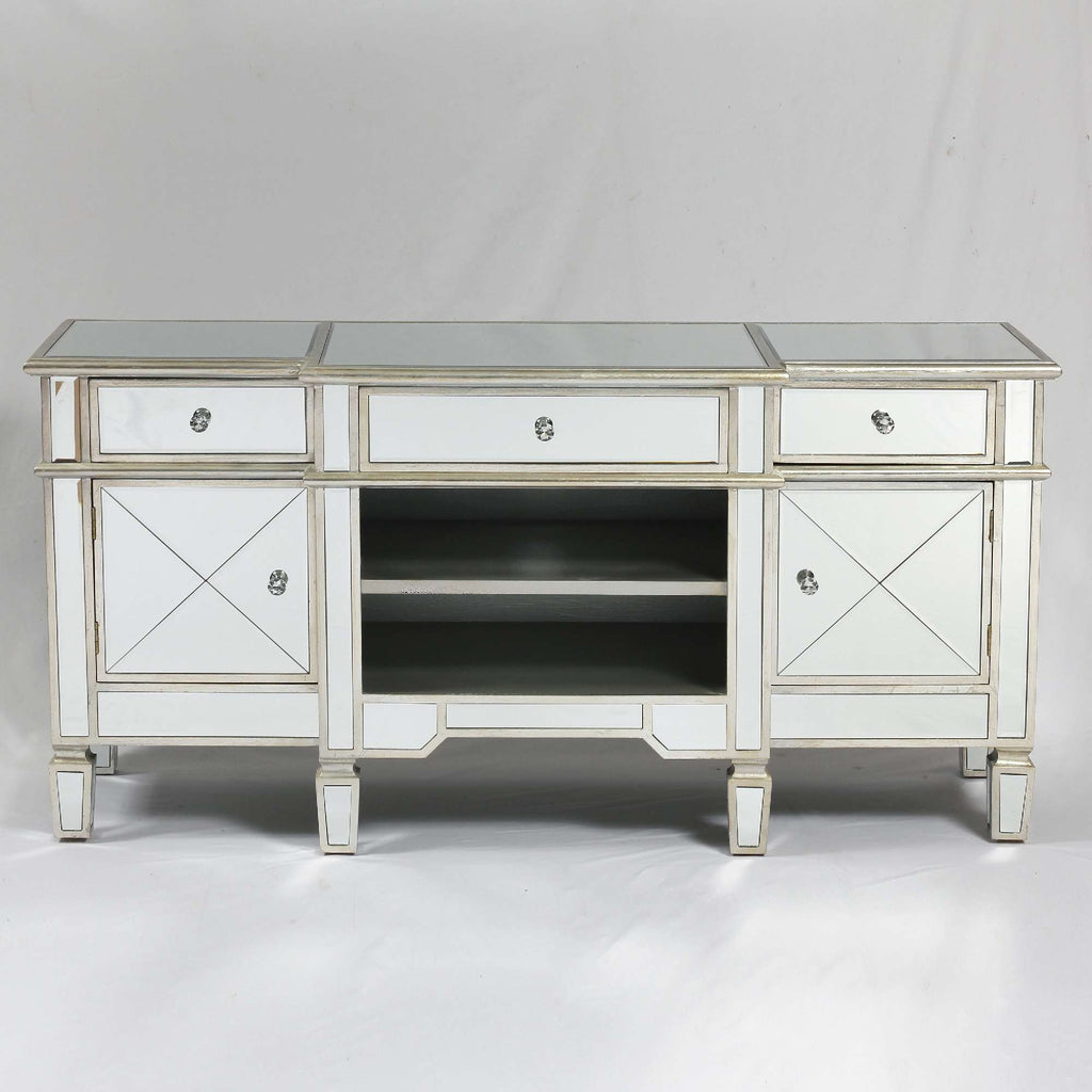 BELFRY Silver Mirrored Media Unit.
