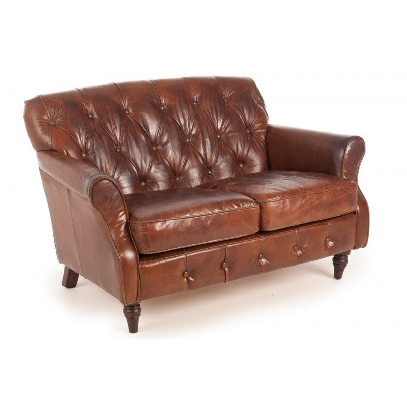 Vintage Leather Button Back Sofa