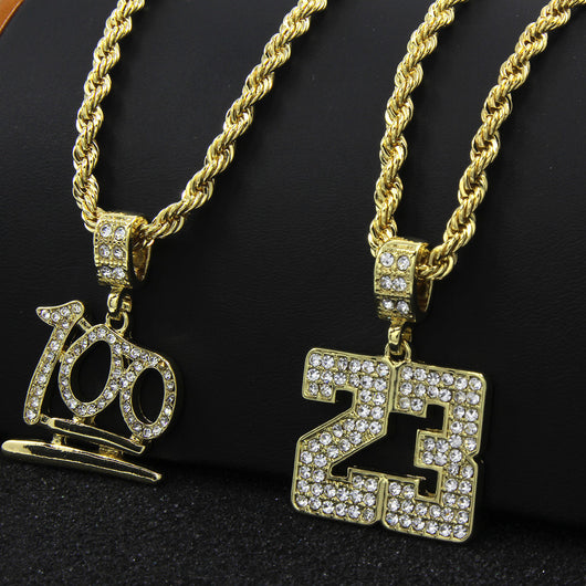 14k Gold Plated #23 & Emoji 100 Cz Pendant Set Hip-Hop 24
