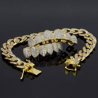 18K Gold & Silver Plated High Quality CZ Top & Bottom GRILLZ w/ Cuban Bracelet - FANATICS365