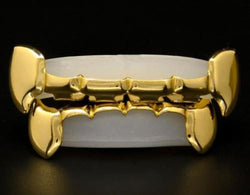 14k Gold Plated Top & Bottom Slim Fang Bar Grillz - FANATICS365