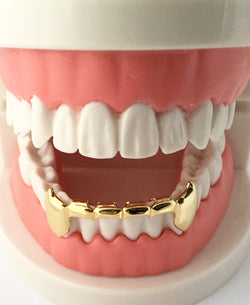 *50% OFF* - BEST SELLER! 14K GP Grills Grillz Bottom Half Lower Fangs - FANATICS365