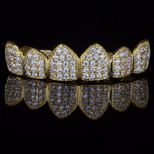 18K Gold & Silver Plated High Quality CZ Top Row GRILLZ - FANATICS365