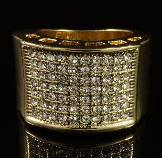 14k White Gold Band Micropave CZ Iced Out Pinky Ring - FANATICS365