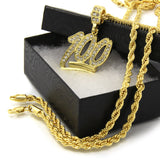 "14k Yellow Gold Finish Iced out 100 Emoji 24"" Rope Chain - FANATICS365"