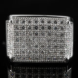 18K White Gold Silver Iced Out Wedding MICROPAVE CZ Pinky Ring - FANATICS365