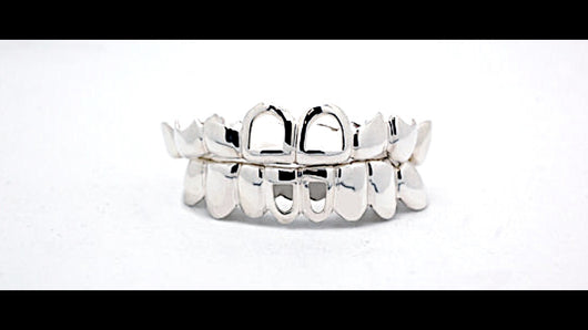 Custom 10K 14K Plated White Gold Joker Style Top & Bottom Grillz - FANATICS365