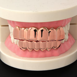 14K ROSE GOLD PLATED 6 TOOTH TOP & BOTTOM GRILLZ - FANATICS365