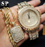 ICED OUT GOLD PT LAB DIAMOND WATCH, NECKLACE & EARRINGS SET - FANATICS365