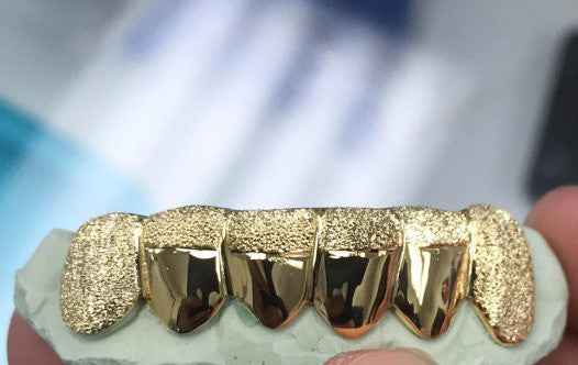 Custom 10K 14K Gold Grillz Plated Bullet Punchout Diamond Dust Edge K9 Style Silver Top & Bottom - FANATICS365