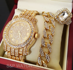 ICED OUT GOLD TONE BEST SELLER WATCH & RING & BRACELET COMBO SET - FANATICS365