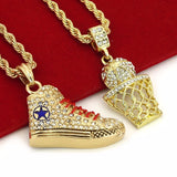 "Iced Out Basketball & Shoe Pendant w/ 4mm 24"" Rope Chain - FANATICS365"
