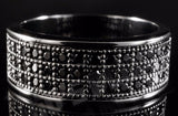 18K Black Gold Iced Out BANDMICROPAVE CZ Pinky Ring - FANATICS365