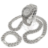 "30"" ICED OUT CUBAN STONE CHAIN, BRACELET and Watch - White Gold Bling Box - FANATICS365"