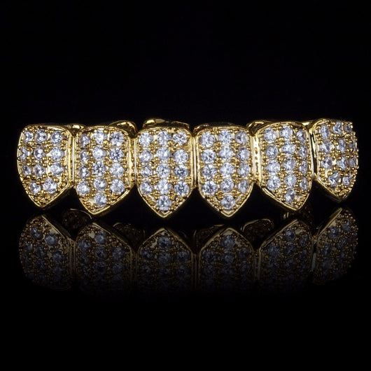 18K Gold & Silver Plated High Quality CZ Bottom Row GRILLZ - FANATICS365