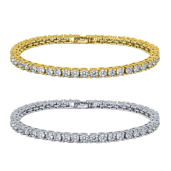 10.00ctw Round Cubic Zirconia Rhodium Plated or 14K Gold Plated Tennis Bracelet - FANATICS365