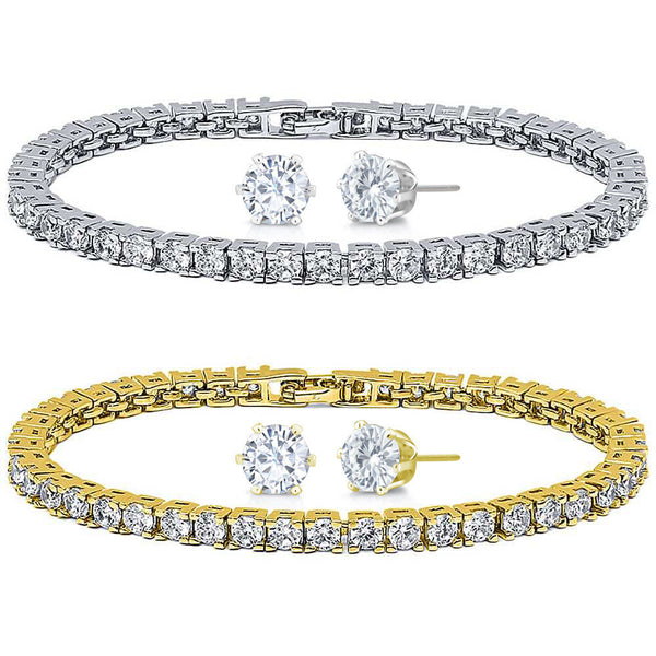 10.00ctw Zirconia Rhodium Plated or 14K Gold Plated Tennis Bracelet/Earrings Set - FANATICS365
