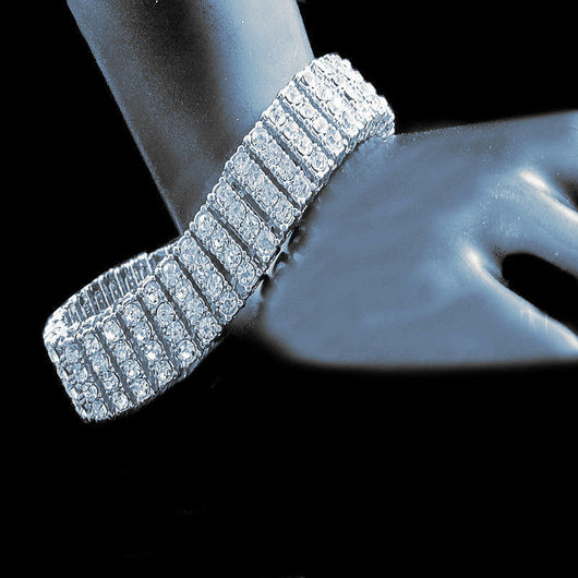 14k White Gold Finish Mens 4 Row Lab Diamond Simulated Tennis Bracelet 8.5