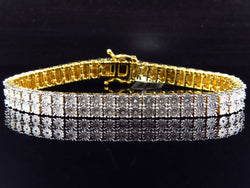 Yellow Gold Finish Round Cut Real 2 Row 7 MM Diamond Bracelet 8 Inch