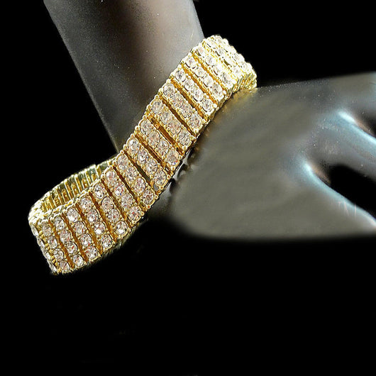 14k Yellow Gold Finish 4 Row Lab Diamond Simulated Tennis Bracelet 8.5