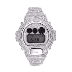 CASIO GSHOCK DW6900 FULL ICED OUT 14k White Gold Plated Lab Diamonds 15CT Watch - FANATICS365