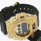 Black and Gold Limited Edition Iced Out G-Shock DW6900 Mens Watch - FANATICS365