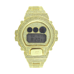 CASIO GSHOCK DW6900 Full Iced Out 14k Gold Plated Canary Lab Diamonds Watch - FANATICS365