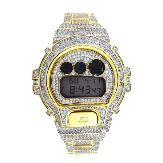 CASIO GSHOCK DW6900 FULL ICED OUT 14k Gold Plated White Lab Diamond 15CT Watch - FANATICS365