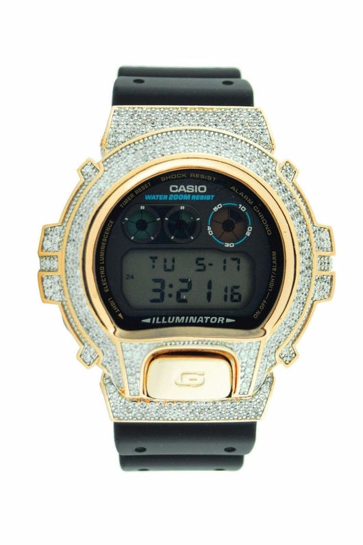 14K Yellow Gold Plated Iced out Bling Lab Diamond Casio G-Shock DW6900 - FANATICS365