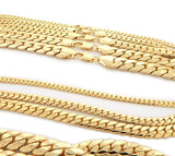 "18""-30"" STAINLESS STEEL 4MM-10MM 24K GOLD PLATED CUBAN LINK CHAIN NECKLACE - FANATICS365"