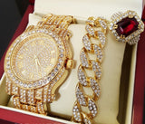 ICED OUT GOLD TONE WATCH, RING & BRACELET COMBO SET - FANATICS365