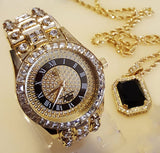 ICED OUT GOLD RICK ROSS WATCH & ONYX NECKLACE & EARRINGS COMBO SET - FANATICS365