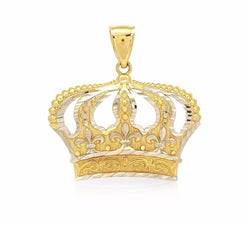 10K Yellow And White Gold Diamond Cut Design Open Big Crown Charm Pendant 1.3