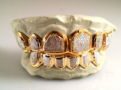 CUSTOM 10K GOLD OR 14K PLATED SILVER GOLD GRILLZ DIAMOND DUST TIP PUNCHOUT - FANATICS365