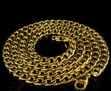 18K Gold Cuban Solid Heavy Stainless Steel Curb Link Chain - FANATICS365