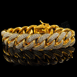 18K Gold FULLY ICED OUT CUBAN MICROPAVE Bracelet 15mm - FANATICS365