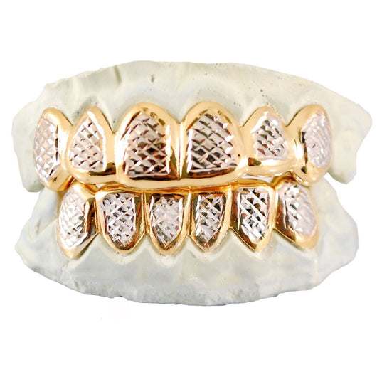 Custom Sterling Silver 14k Gold Plating Diamond Cut Two Tone 6 or 8 pc Grillz - FANATICS365
